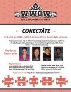 Wild Women of the West Flyer in Spanish Visit http://azdisciples.org/ministries/dwm-disciple-womens-ministry/ for more info.
