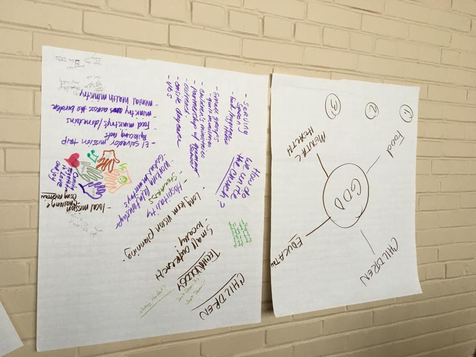 Butcher paper on wall with work of Tucson group at Mission First event